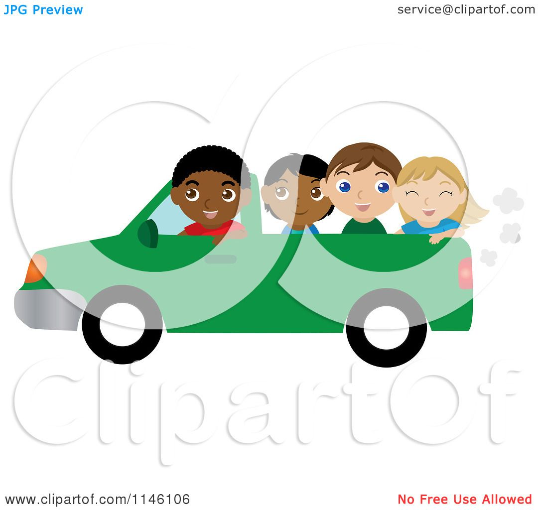 1080x1024 Clipart Of A Black Boy Driving A Pickup Truck With Children In