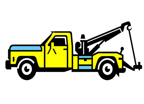 500x361 Roll Back Tow Truck Clipart