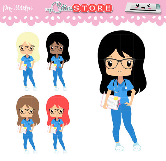 570x554 Chibi Nurse Clipart, Kawaii Png Graphics Set Great For Planner