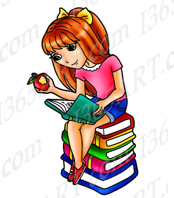 570x651 50% Off Girl Reading Clipart Girl Reading Clip Art Digital