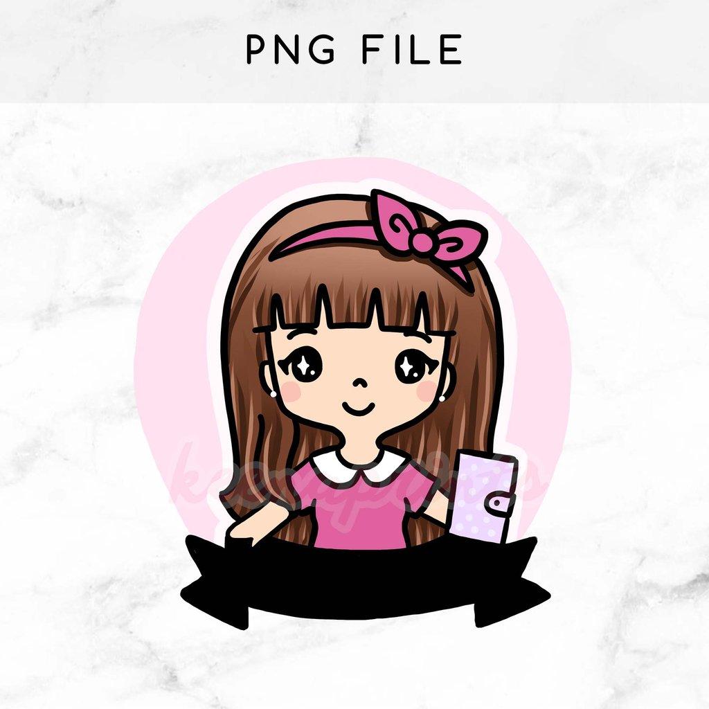 1024x1024 Pre Made Chibi Planner Girl Keenachi Printable Clip Art Keenaprints