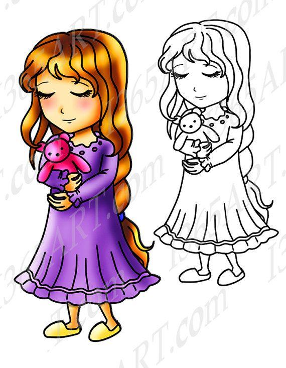 570x733 Bedtime Girl, Clipart, Digital Stamp, Teddy Bear, Anime Chibi