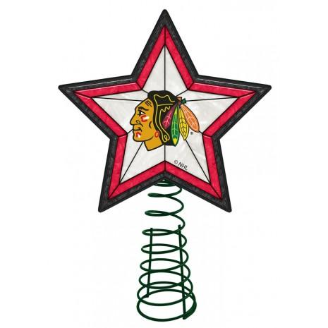 465x465 Chicago Blackhawks Light Up Art Glass Tree Topper Sports