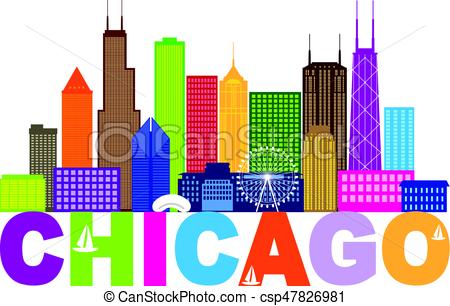450x306 Chicago City Skyline Text Color Illustration. Chicago City