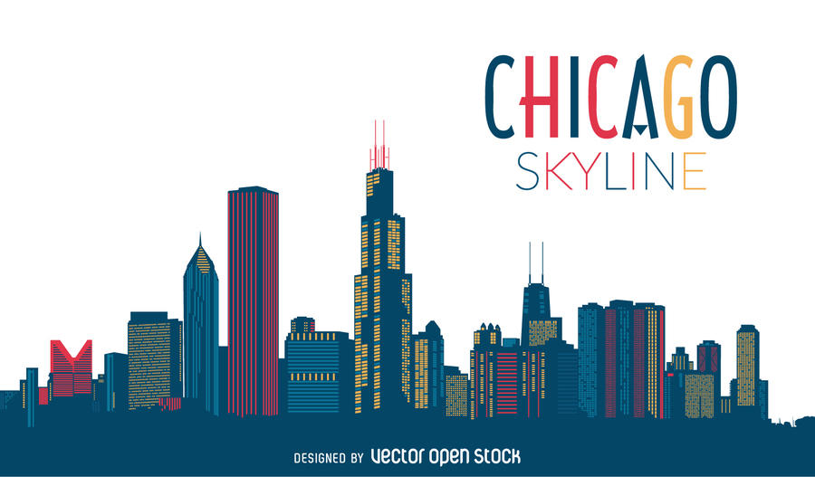 900x527 Chicago Skyline Vector Free Download Clip Art