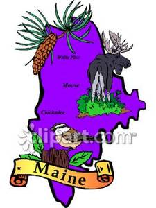225x300 Purple State Of Maine With State Symbols The Moose, The Chickadee