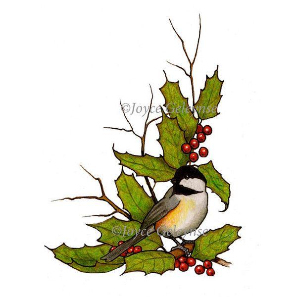 600x600 Clip Art, Christmas Holly, Twigs, Chickadee Freehand Art, Jpg