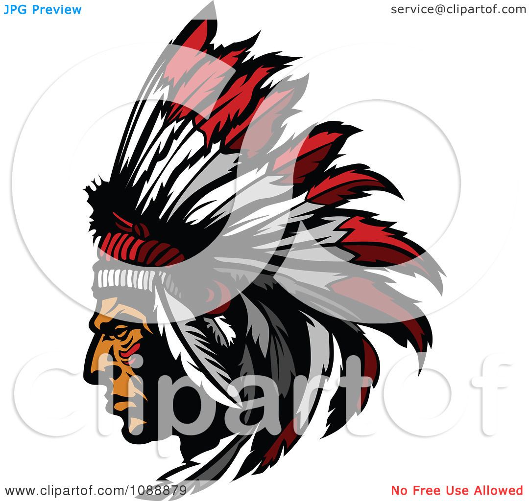 1080x1024 Clipart Native American Indian Chief And Feather Headdress Mascot