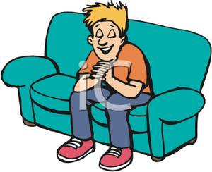 300x244 Royalty Free Clipart Image A Boy Sitting On A Couch And Praying