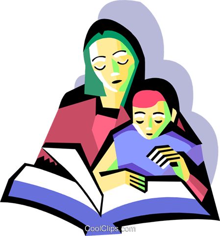 449x480 Mother With Child Reading Royalty Free Vector Clip Art