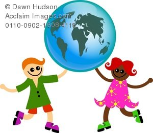 300x260 Clipart Illustration Of Two Diverse Happy Children Holding Up