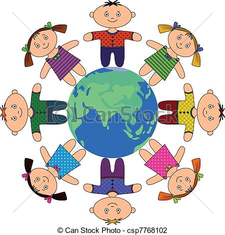 450x470 Happy Children Standing Around Earth, Holding Hands And Vector