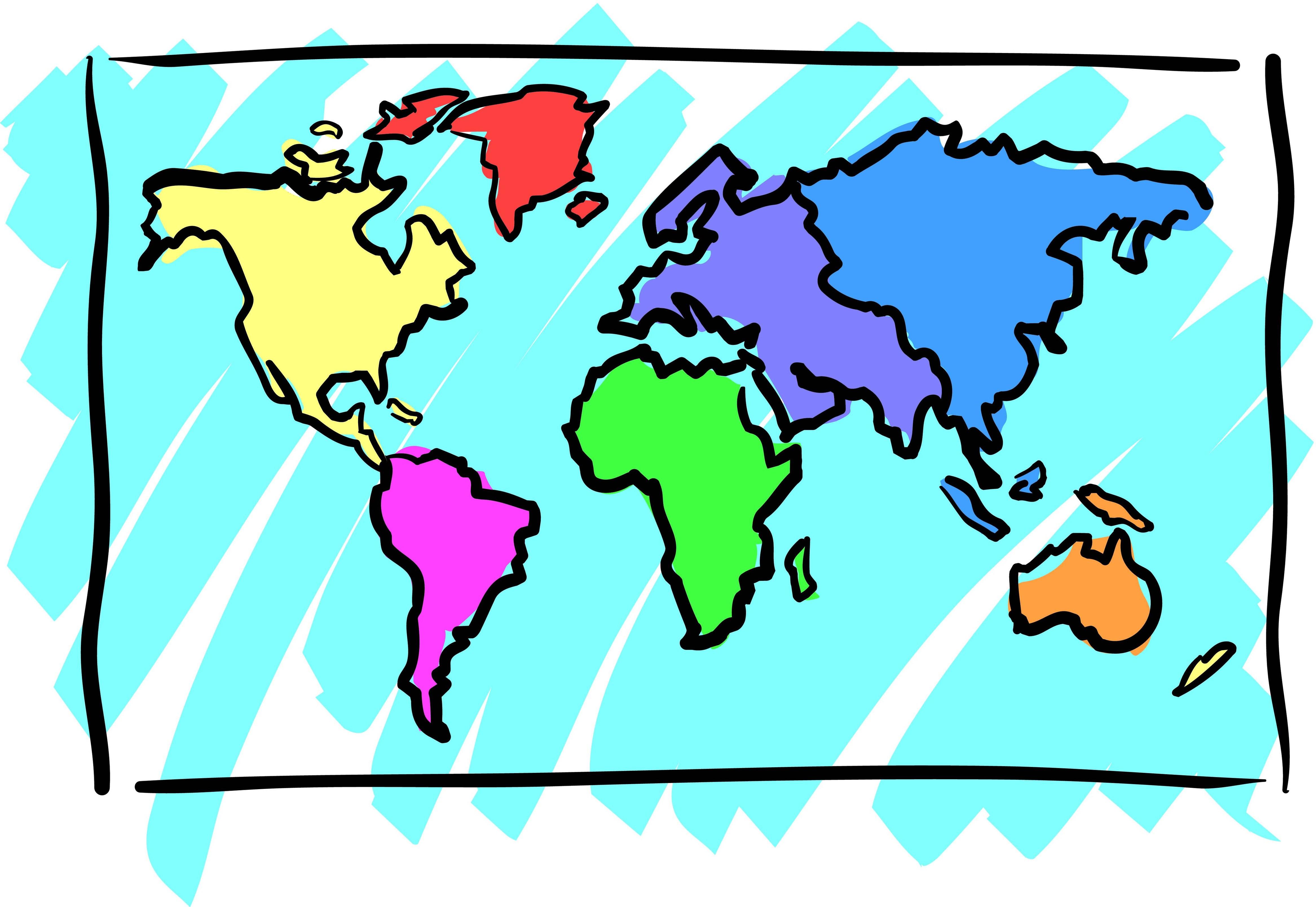 4667x3218 Map Clipart Kids World