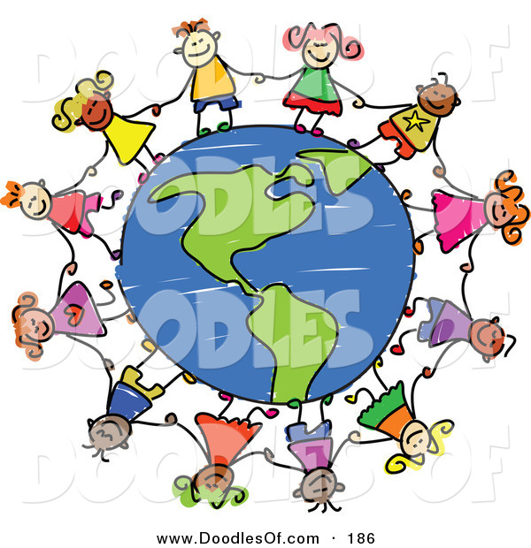 600x620 Vector Clipart Of A Childs Sketch Of Children Grasping Hands