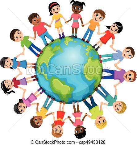 444x470 Children Kids Hand Around World Isolated. Children Or Kids