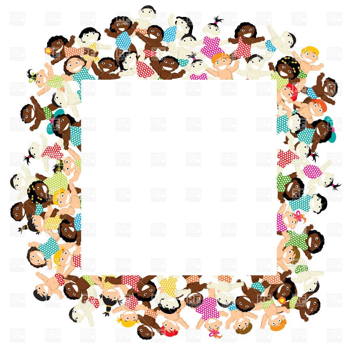 1200x1200 Decorative Frame With Multiethnic Children Vector Image Vector