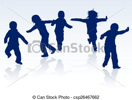 450x341 Happy Children Silhouettes Dancing Together Clip Art Vector