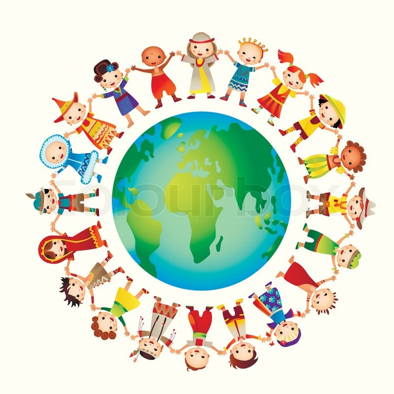 800x800 Multicultural Children On Planet Earth Stock Vector Colourbox