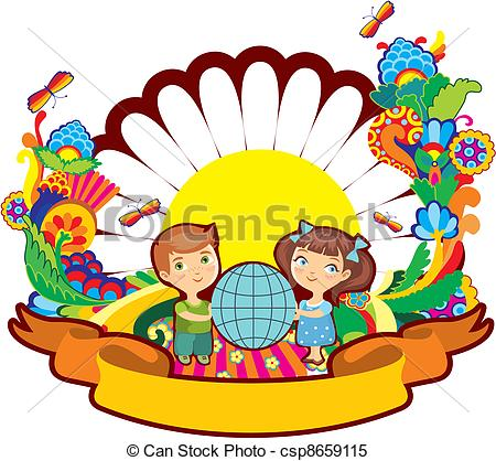 450x418 Children World Flower Label Isolat. Boy And The Girl Hold