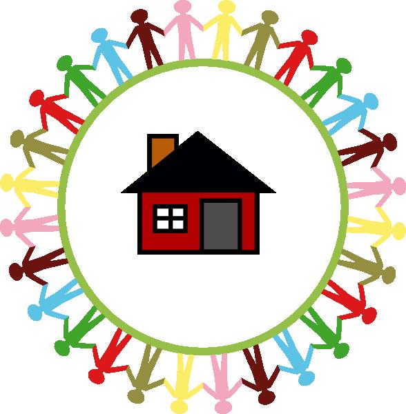588x600 Children Surrounding A House Clip Art
