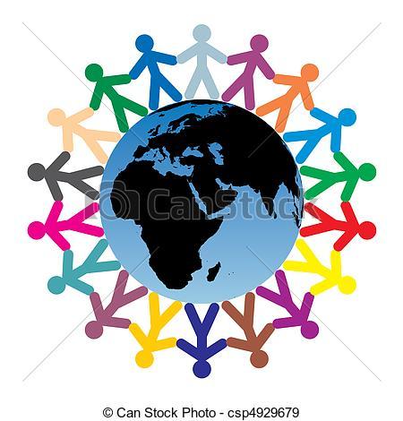 450x470 Children Around The World. Colored Children Silhouettes Eps