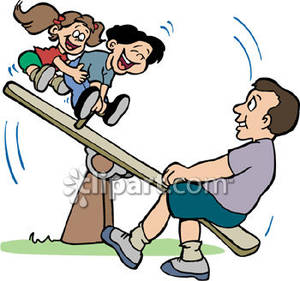 300x281 Kids Playing On A Teeter Totter With Father Royalty Free Clipart