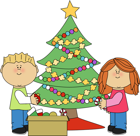 550x536 Kids Decorating A Christmas Tree Clip Art Trimming