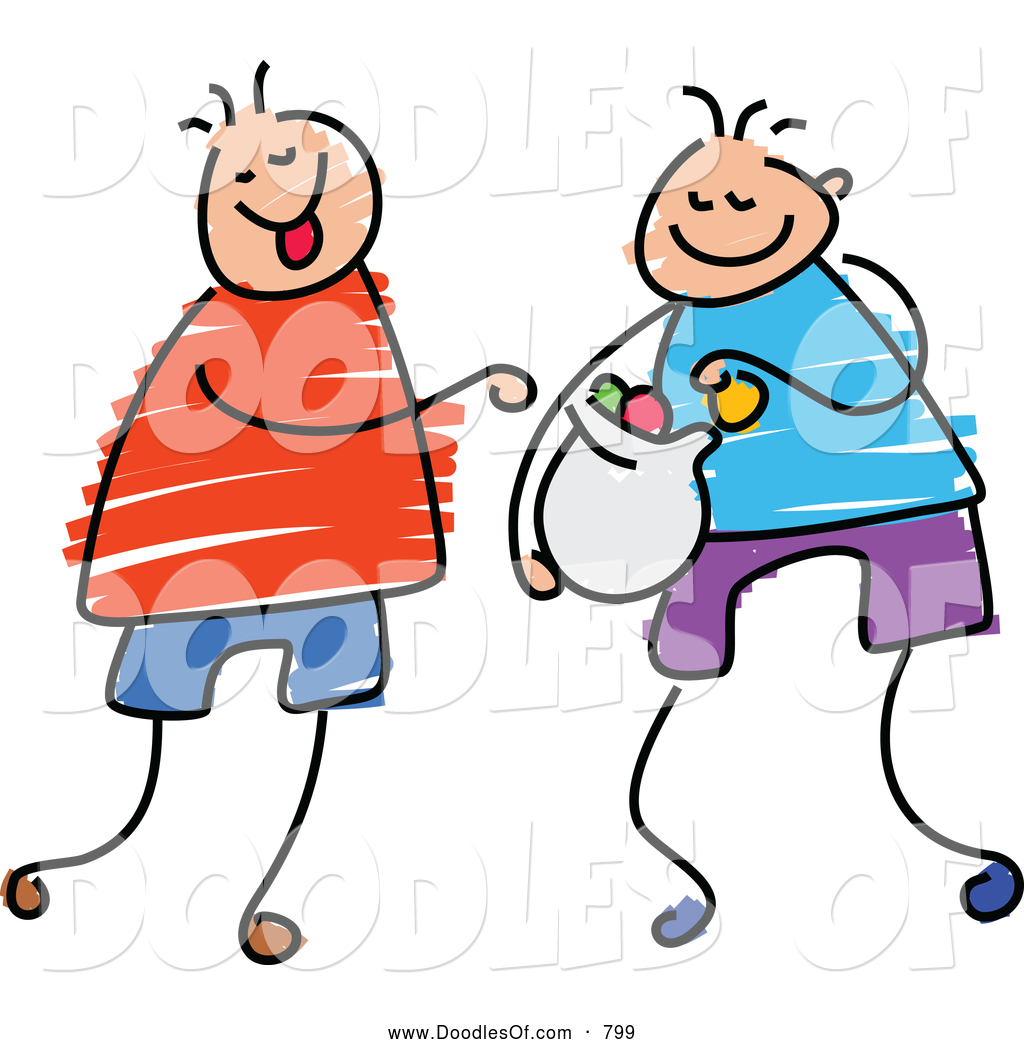1024x1044 Vector Clipart Of A Doodle Of Boys Sharing Candy By Prawny