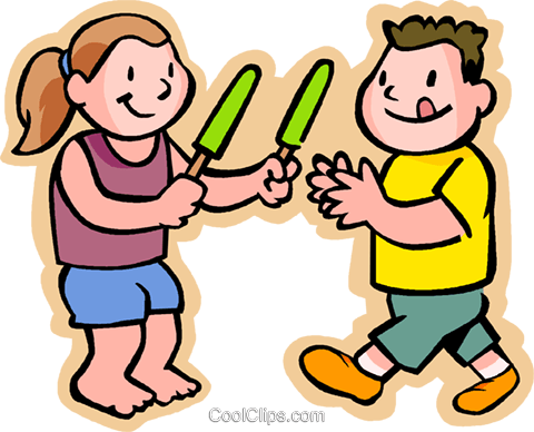 480x388 Kids Eating A Popsicle, Sharing Royalty Free Vector Clip Art