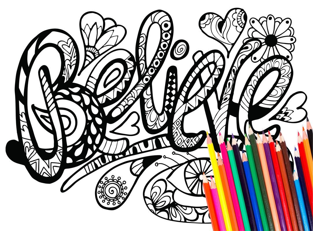 1083x800 Inspirational Words 42 Printable Coloring Pages Gozen Unbelievable