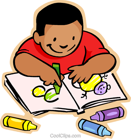 448x480 Coloring Book Clipart Little Boy With Crayons And Colouring Pages