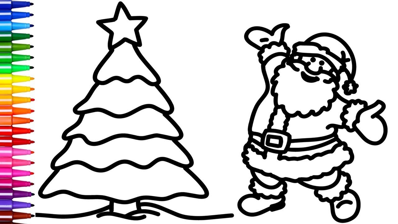 1280x720 Coloring Santa And Christmas Tree Pages Creativity Colors