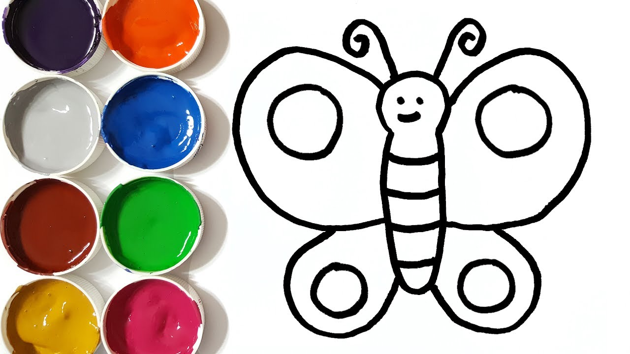 1280x720 Drawing And Colouring Butterfly For Kids