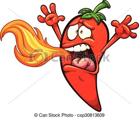 450x383 Spicy Chili Pepper Breathing Fire. Vector Clip Art Vector