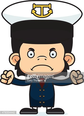 353x487 Cartoon Angry Boat Captain Chimpanzee Stock Vectors