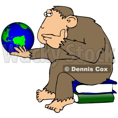 400x400 Clipart Illustration Chimp In Thought, Sitting On Top