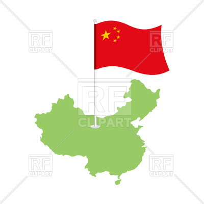 400x400 China Map And Flag Royalty Free Vector Clip Art Image