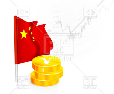 400x329 Flag Of China With Coins Royalty Free Vector Clip Art Image