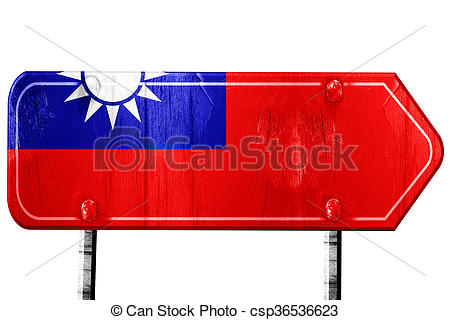450x320 Republic Of China Flag, 3d Rendering, Road Sign On White Backgro