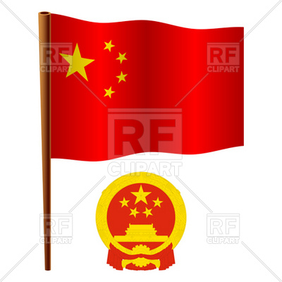 400x400 China Flag And Coat Of Arms Royalty Free Vector Clip Art Image
