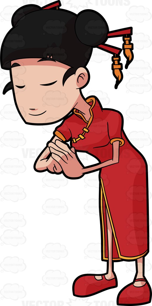 510x1024 A Chinese Woman Bowing In Respect Cartoon Clipart Vector Toons