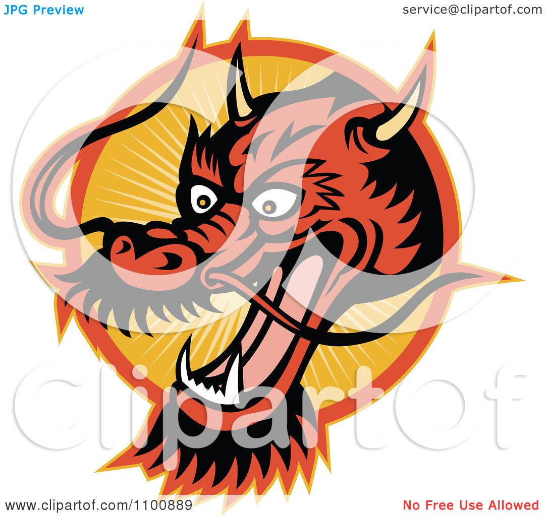 1080x1024 Clipart Retro Chinese Dragon Head Over An Orange Circle Of Rays