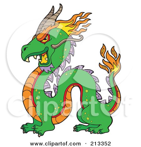 450x470 Royalty Free (Rf) Clipart Illustration Of A Green Chinese Dragon