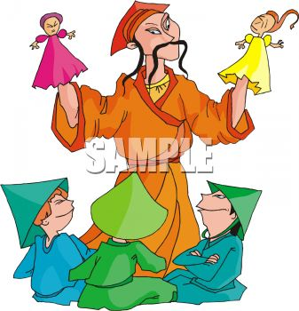 337x350 Royalty Free Clip Art Image Chinese Man Putting On A Puppet Show