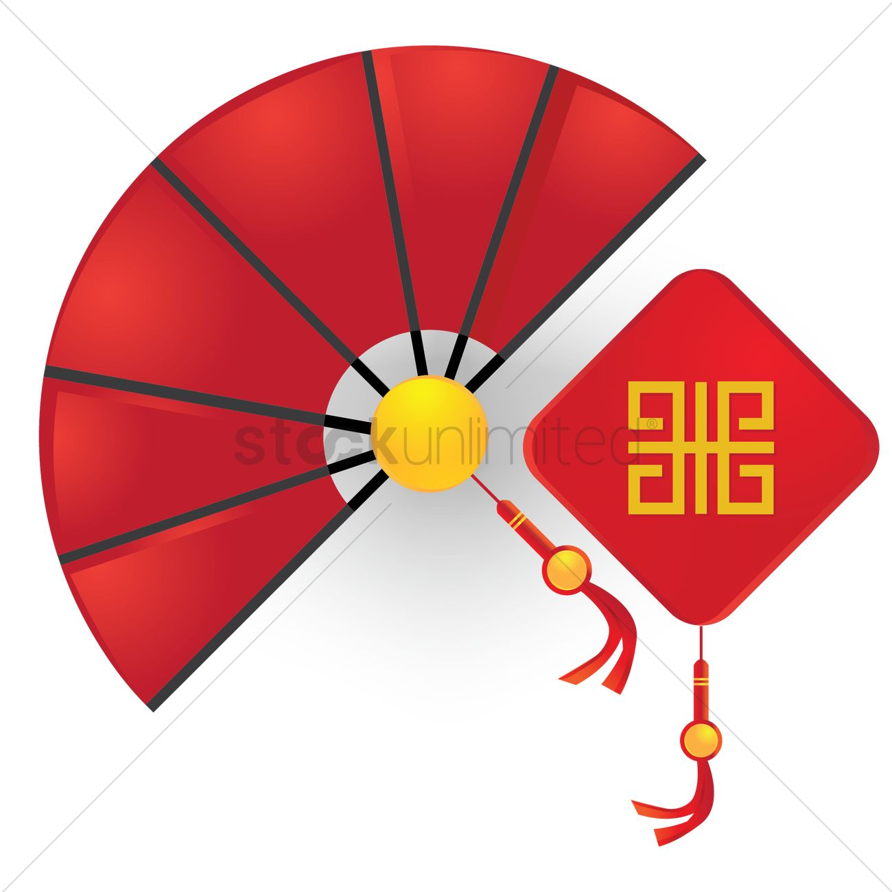 1300x1300 Chinese Hand Fan With Wall Hanging Vector Image