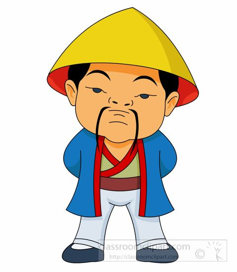 479x550 Man In Treditional Costume Standing Ancient China Clipart.jpg