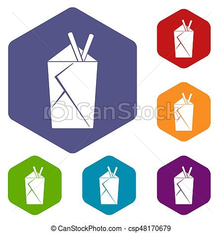 450x470 Chinese Food Box Icons Set Hexagon Isolated Illustration Stock