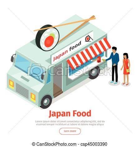 450x470 Japan Or Chinese Food Truck Isometric Projection. Japan Food