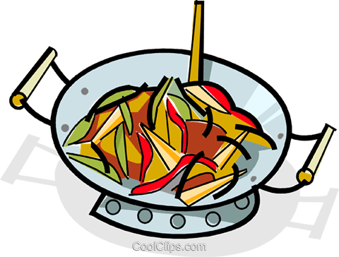 480x364 Stir Fry Cooking In A Wok Royalty Free Vector Clip Art