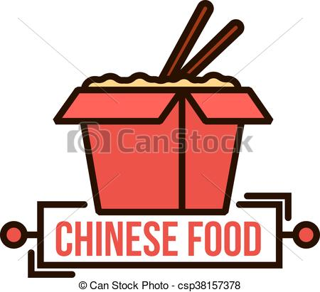 450x411 Takeaway Chinese Noodle Box Thin Line Badge. Takeaway Vectors